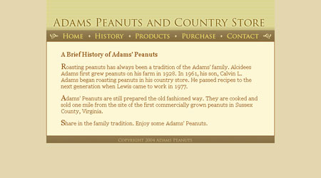 Screenshot of a website created for Adams Peanuts and Country Store