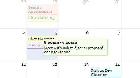 Web Based Calendar | Event Close-up