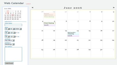 Web Based Calendar | Month View