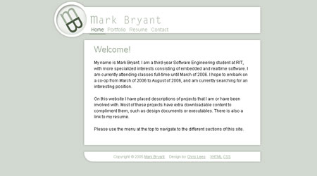 Screenshot of website created for Mark Bryant